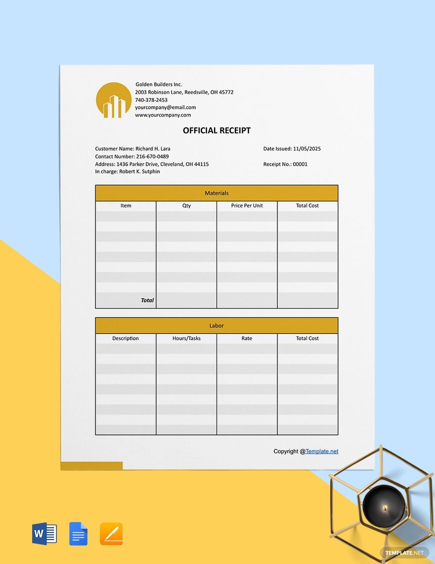 Printable Construction Receipt Template Free Pdf Google Docs Google Sheets Excel Word Template Net Receipt Template Templates Words