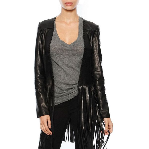 THEPERFEXT Christy Fringe Leather Jacket ($899) ❤ liked on Polyvore featuring outerwear, jackets, black, long fringe jacket, black fringe jacket, 100 leather jacket, fringe leather jacket and long black jacket