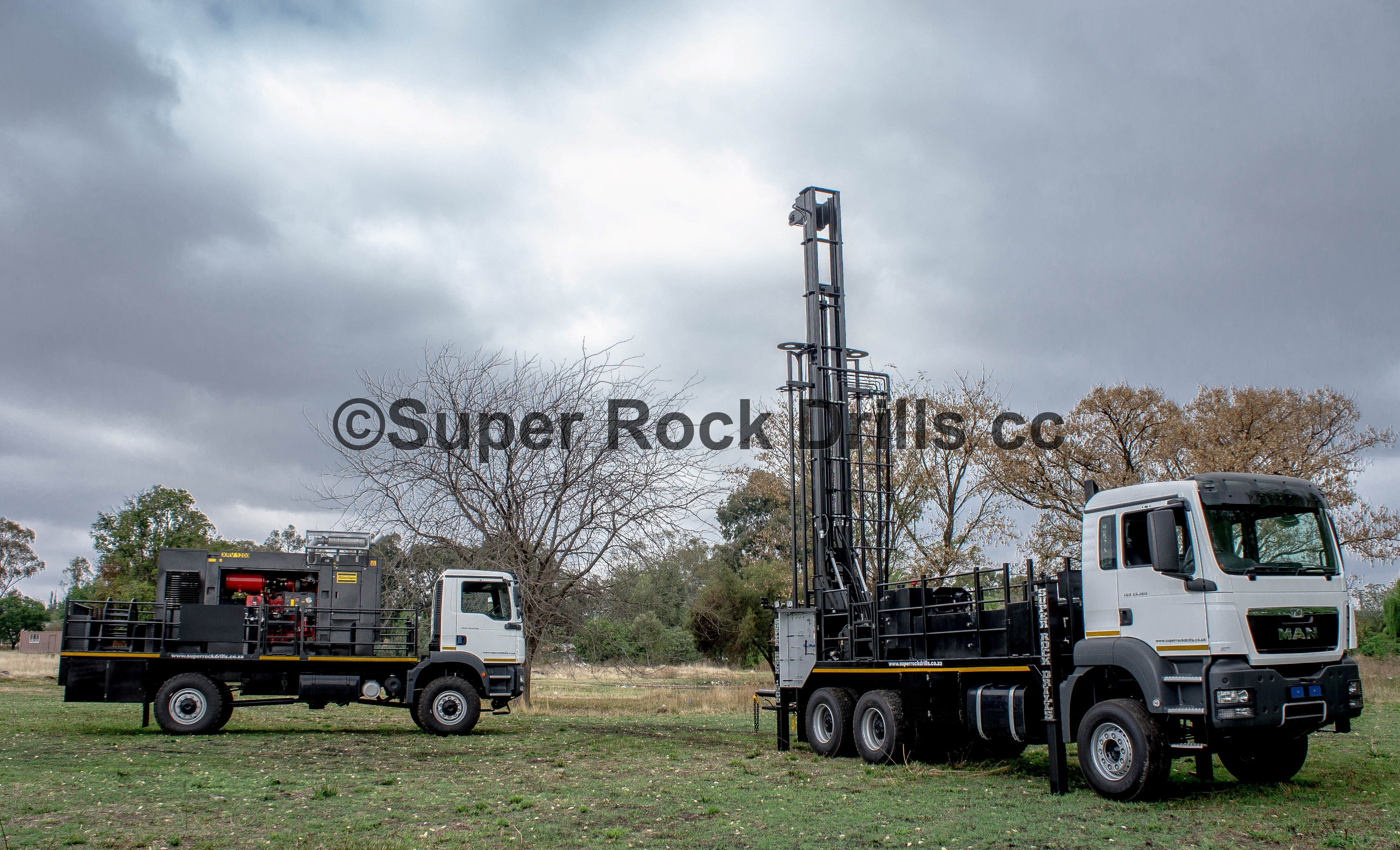 A Super Rock 1000 water well drill rig c/w separate truck mounted