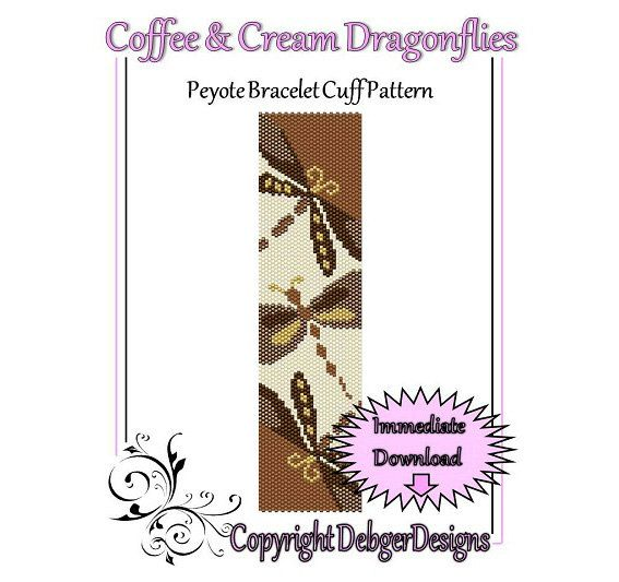 Coffee and Cream Dragonflies  Beaded Peyote by FUNPATTERNDESIGNS