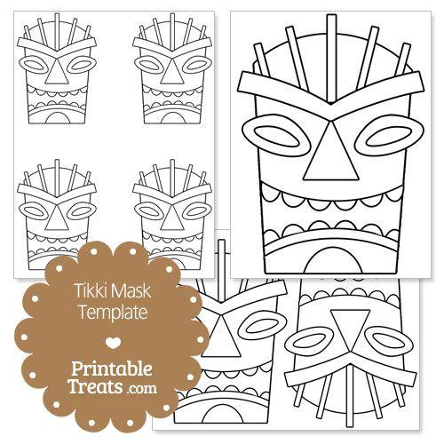 Printable Tiki Mask Template from PrintableTreats.com | Hawaii ...