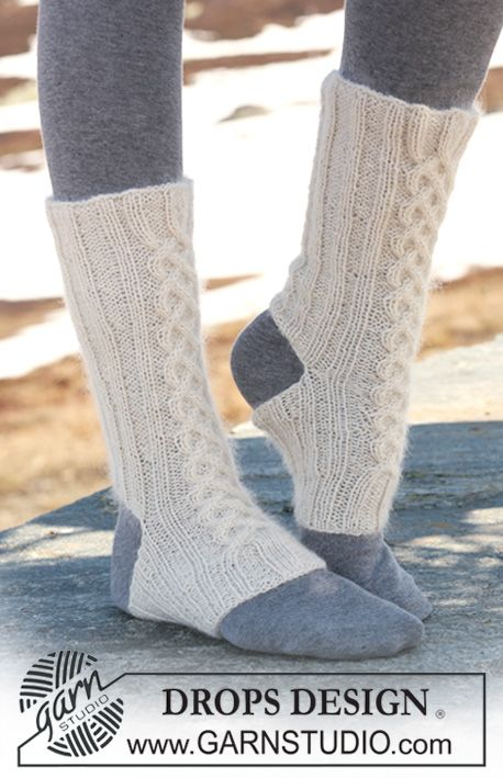 """DROPS yoga Socks with cables in """"Alpaca"""" and """"Kid-Silk"""". ~ DROPS ..."""