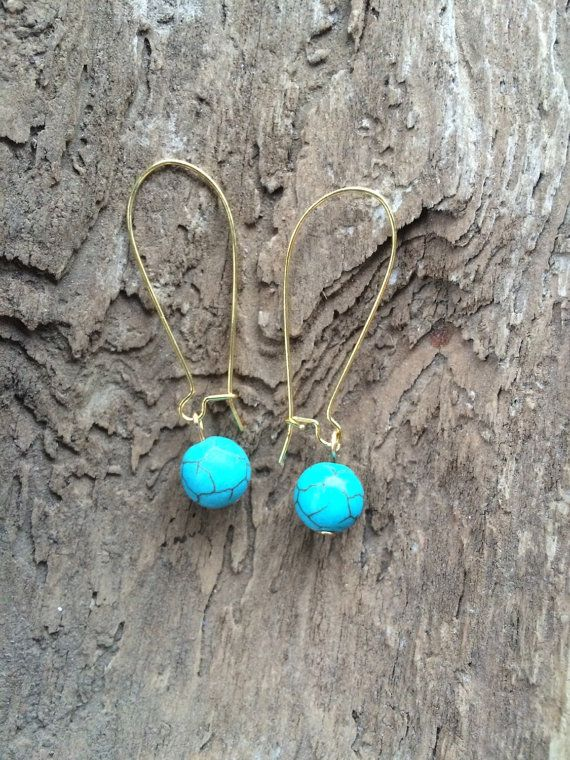 Turquiose Howlite Nugget Earrings on Gold Plated by BirdMelodies