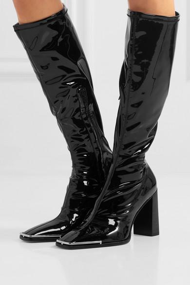 Black Mascha stretch vinyl knee boots | Alexander Wang