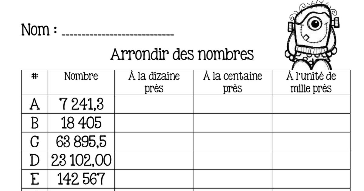 Mathématique - 6e année - Arrondir des nombres récup.pdf ...