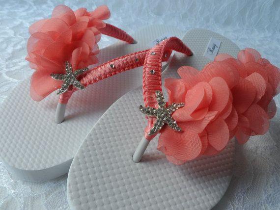 1c4d2215a Coral Bridal Flip Flops   Beach Wedding Flip Flops   Rhinestone Flip ...