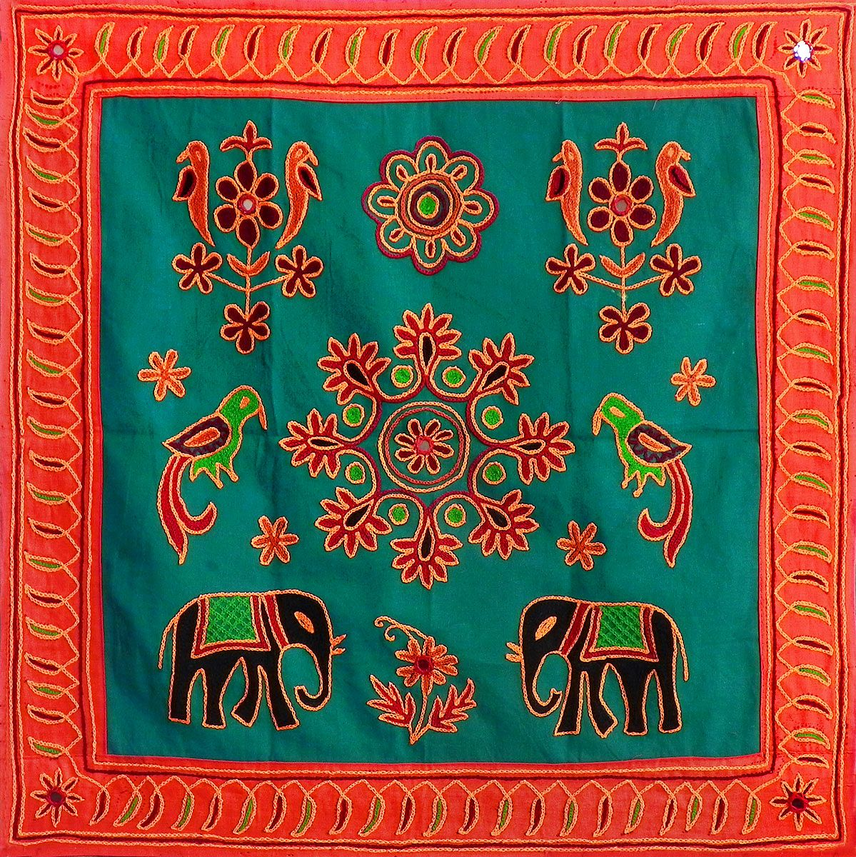 Cloth Wall Hangings embroidered green cloth with saffron border depicting nature