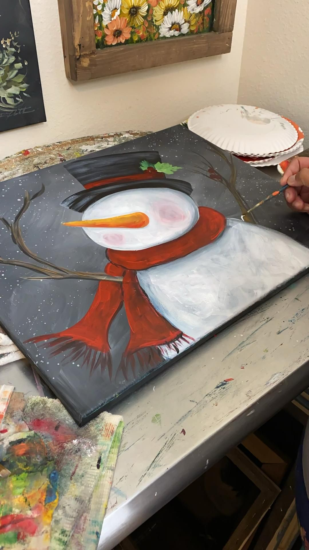 Learn how to paint this snowman - virtual classes