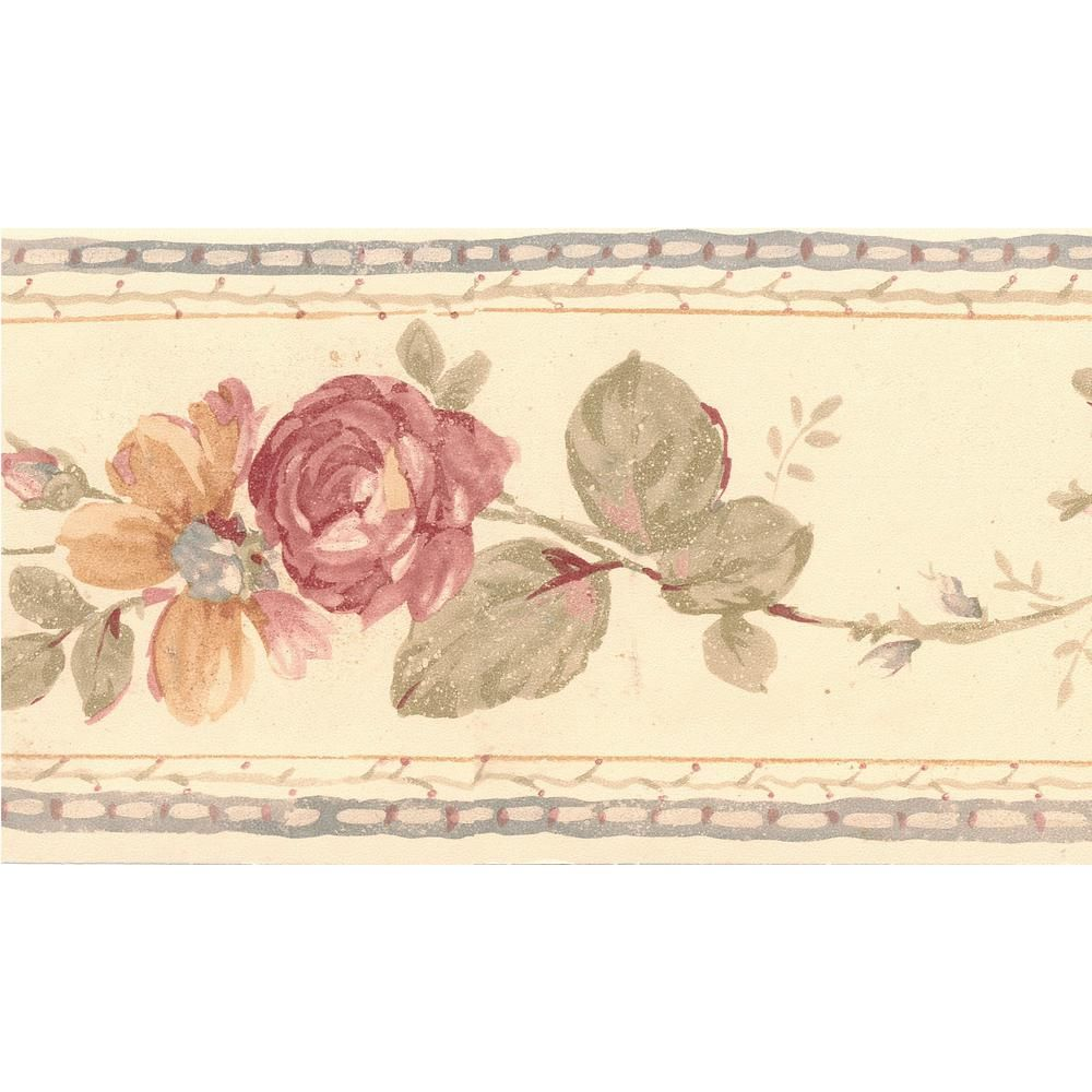 Dundee Deco Falkirk Brin Roses Flowers On Vine Beige Gray Red Wallpaper Border Bd6185 The Home Depot Wallpaper Border Grey Red Wallpaper Prepasted Wallpaper
