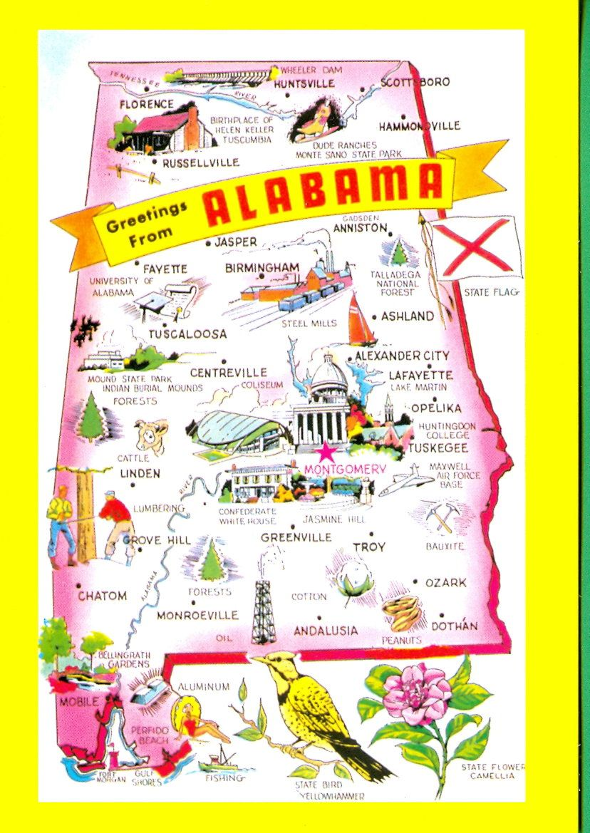 Cartoon map alabama pinterest mostly drove through but i have been to mobile a few times while i lived down south nvjuhfo Choice Image