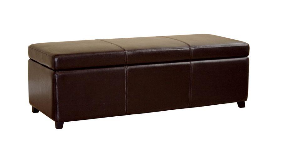 Dark Brown Full Leather Storage Bench Ottoman With Stitching