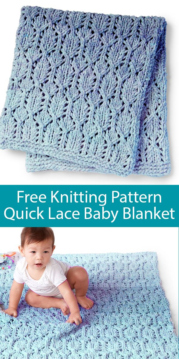 Free Knitting Pattern for Quick Lofty Lacy Baby Blanket in Super Bulky Yarn
