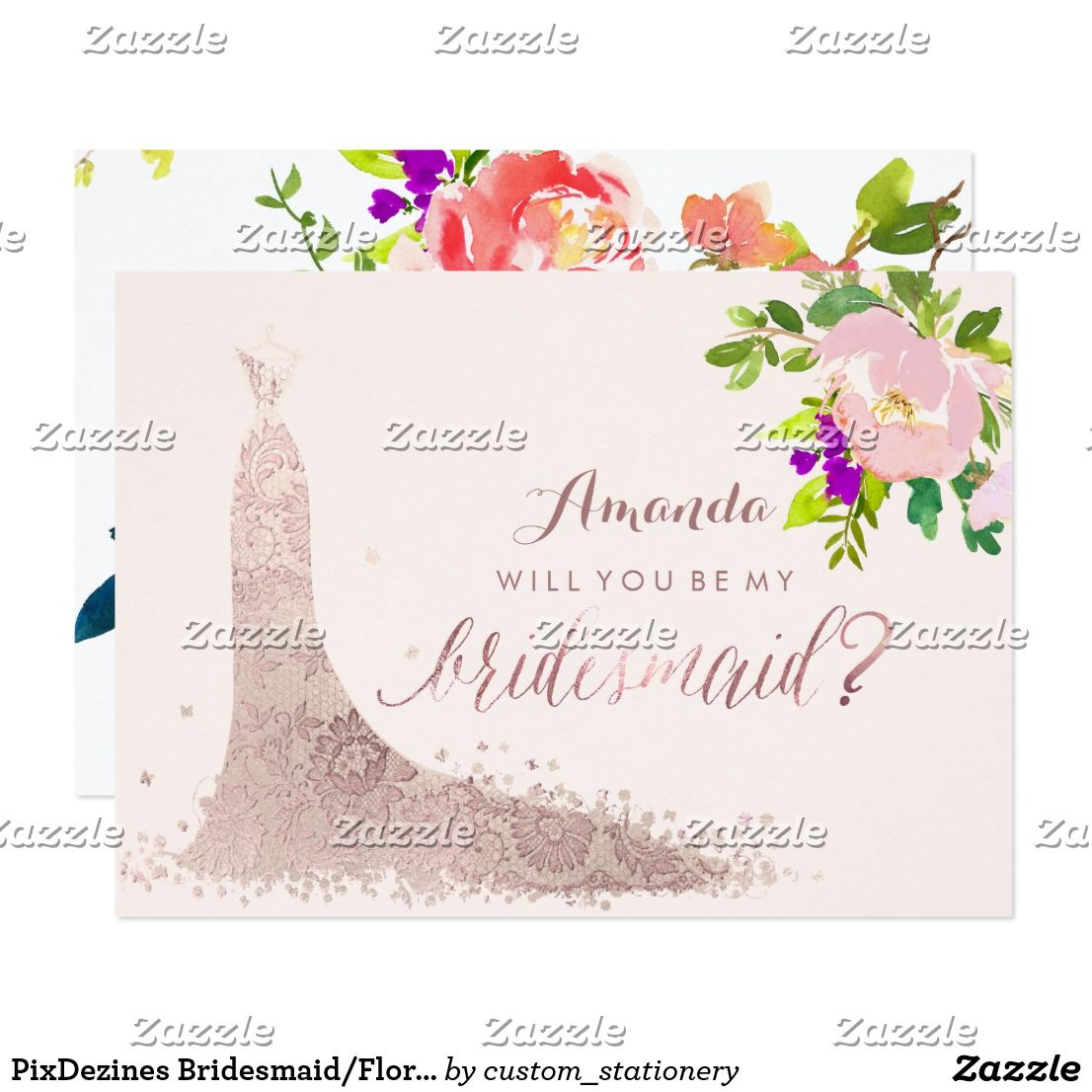 Pixdezines Bridesmaid Floral Watercolor Spring Card Lace Wedding