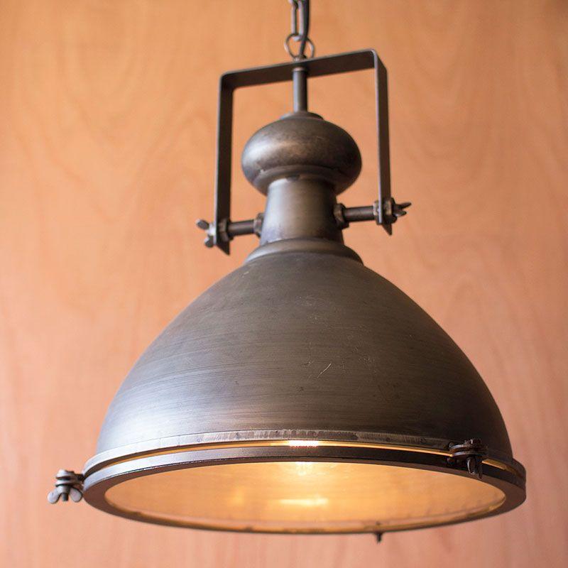 Rustic Pendant Lighting Kitchen: Rustic Metal & Glass Pendant
