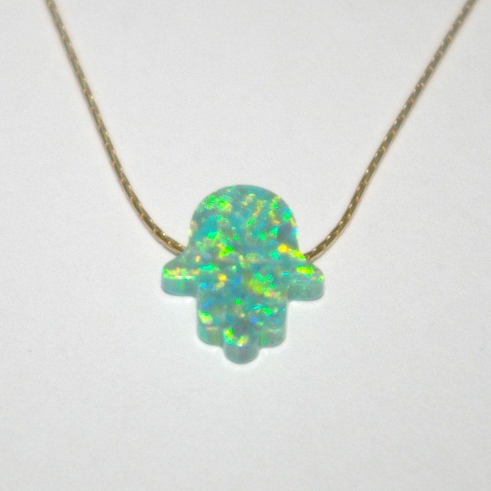 Green opal hamsa fatima hand symbol charm pendant with 14kt gold green opal hamsa fatima hand symbol charm pendant with 14kt gold filled fine 06mm chain buycottarizona Gallery