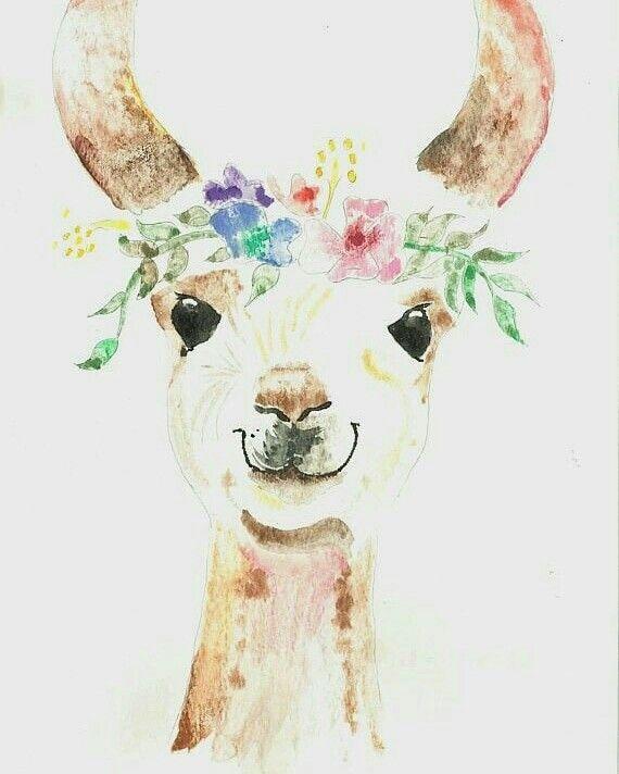 Princess Llama Watercolor Painting Perfect For Nurseries Or