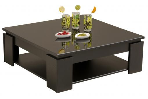 Table Basse En Melamine Brillante Noire Tertio Living Room Side Table Coffee Table Design Modern Coffee Table
