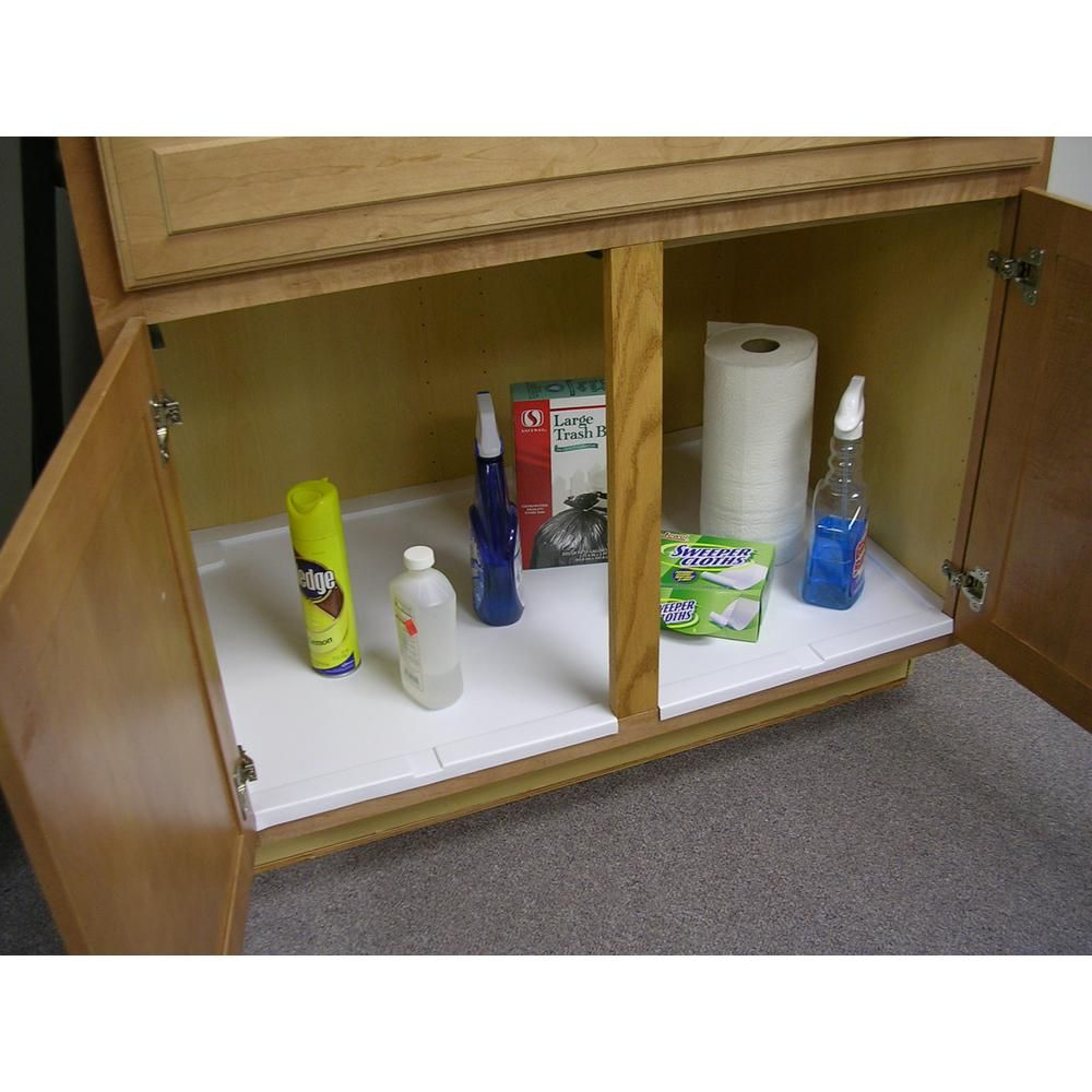 Vance Trimmable Under Sink Liner Tray For Sink Base Cabinets Up To 36 In 4ust36w The Home Depot In 2020 Sink Cabinet Under Kitchen Sinks Base Cabinets