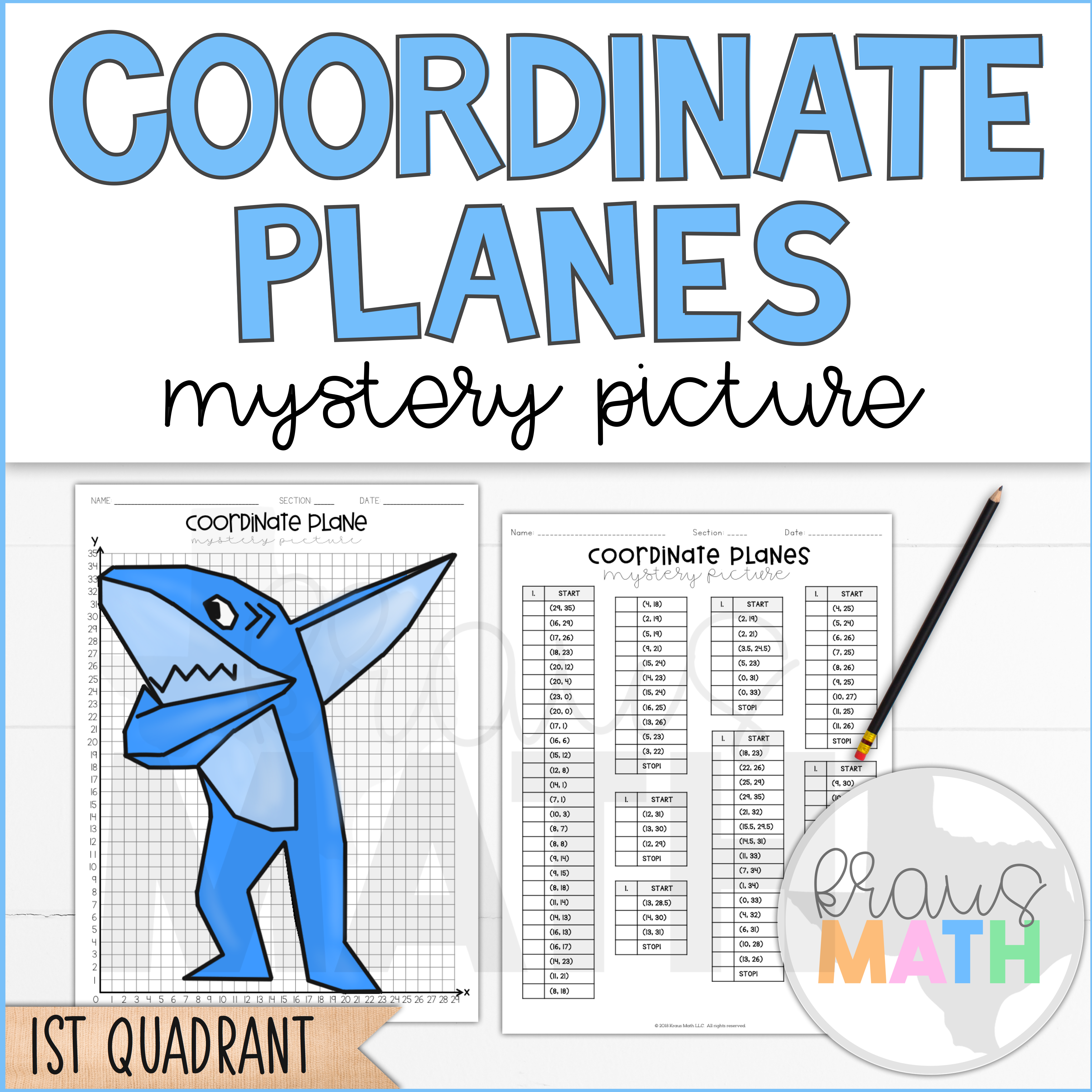 Coordinate Planes Activity 1st Quadrant Shark Dab