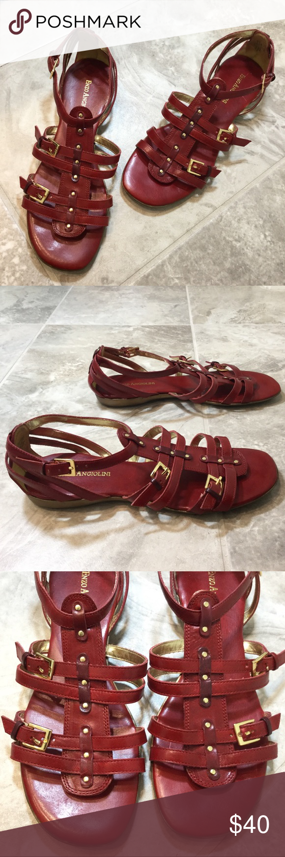 9dca264ca9e Enzo Angiolini Eatells Leather Gladiator Sandals Enzo Angiolini Eatells red  leather flat gladiator sandals with buckles