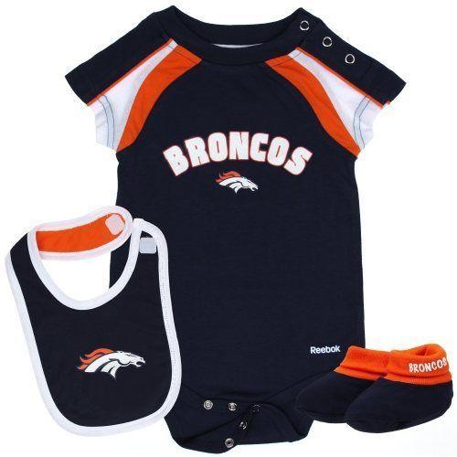 Reebok Denver Broncos Newborn Creeper, Bib & Bootie Set - Navy #DenverBroncos