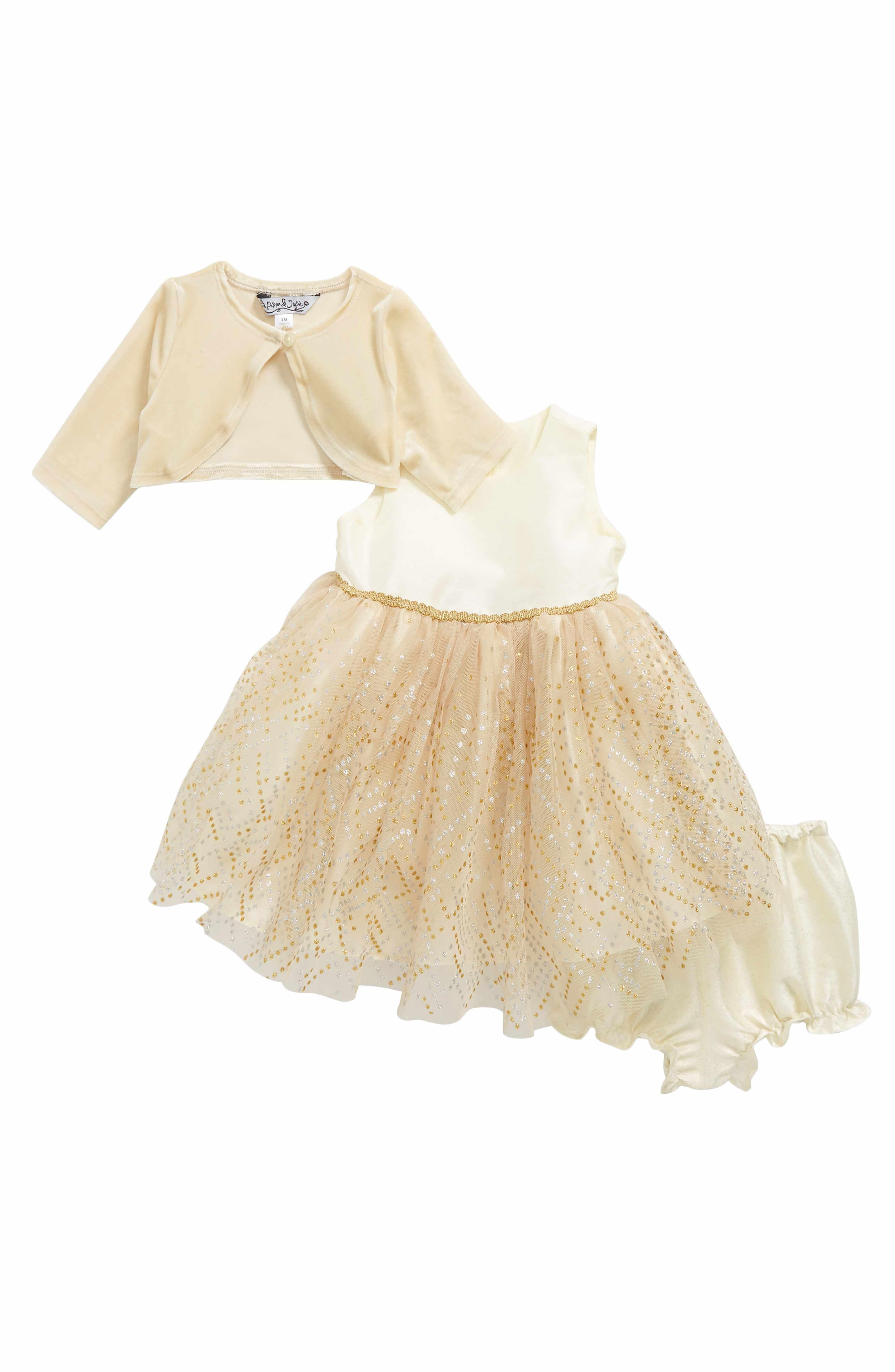Sleeveless Tulle Dress & Velvet Jacket Set