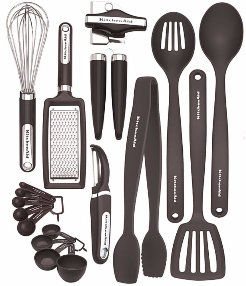 Heat Resistant Dishwasher Safe 17-Piece Black Kitchen Cooking Tools ...