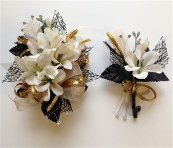 Black Champagne Corsage Boutonniere Set Wedding Or Prom