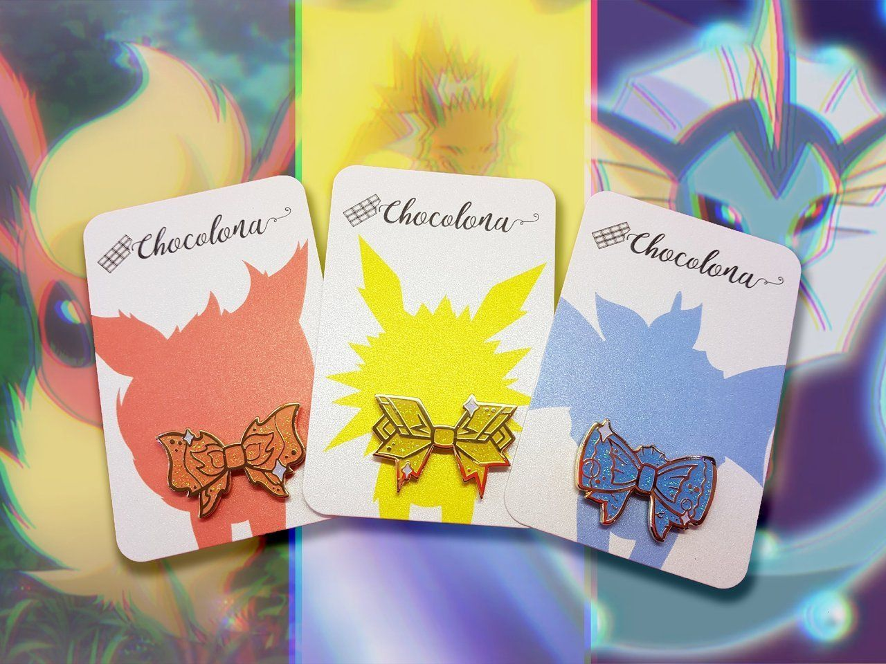 Eeveelution Bow Pins made by Chocolona