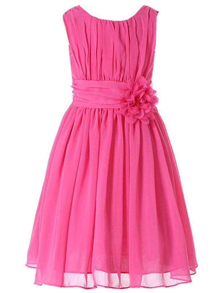 Bow Dream Junior Bridesmaids Little Girls Elegant Ruffle Chiffon Summer Flowers Girls Dresses