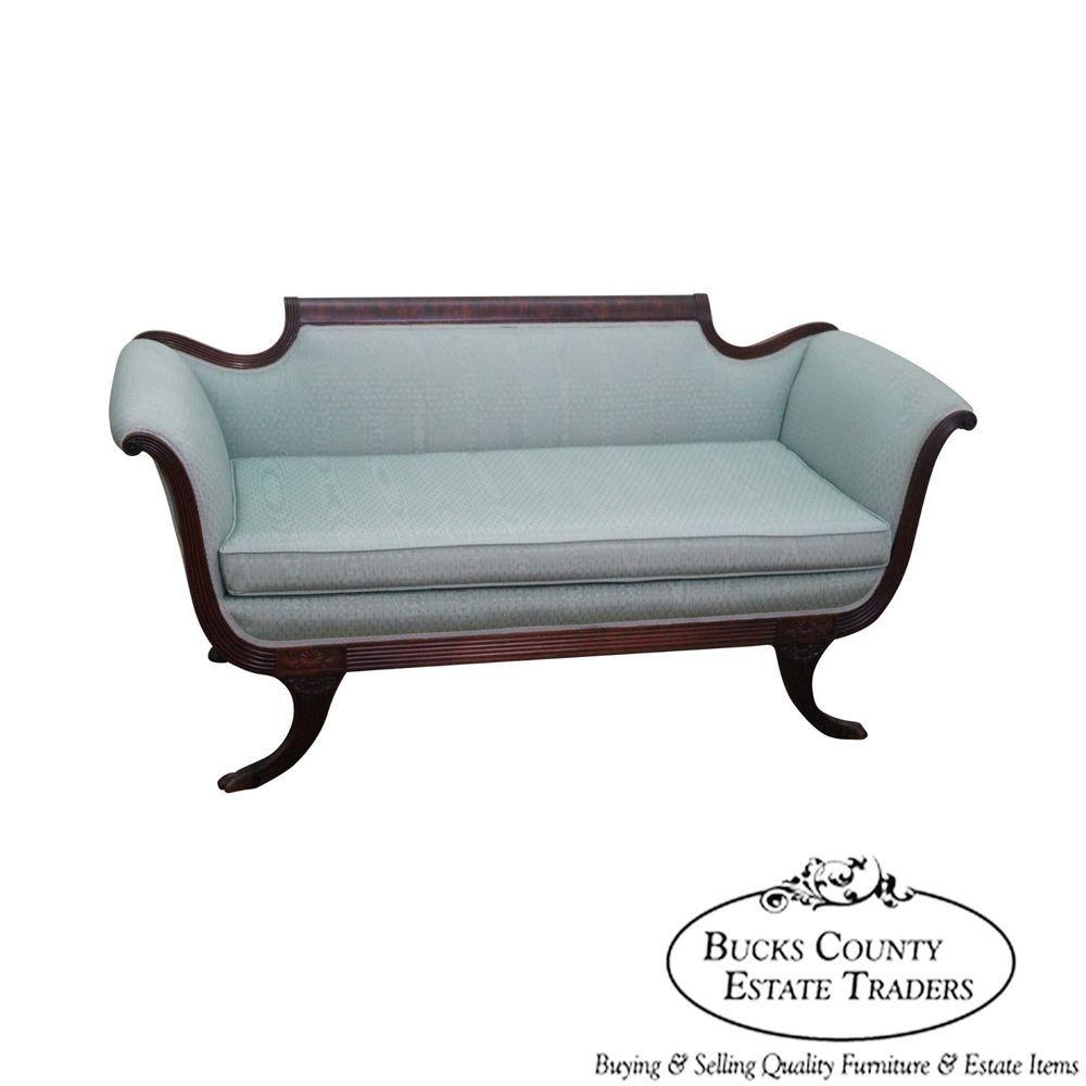 Vintage 1940s mahogany duncan phyfe style loveseat small sofa vintage 1940s mahogany duncan phyfe style loveseat small sofa traditional parisarafo Gallery
