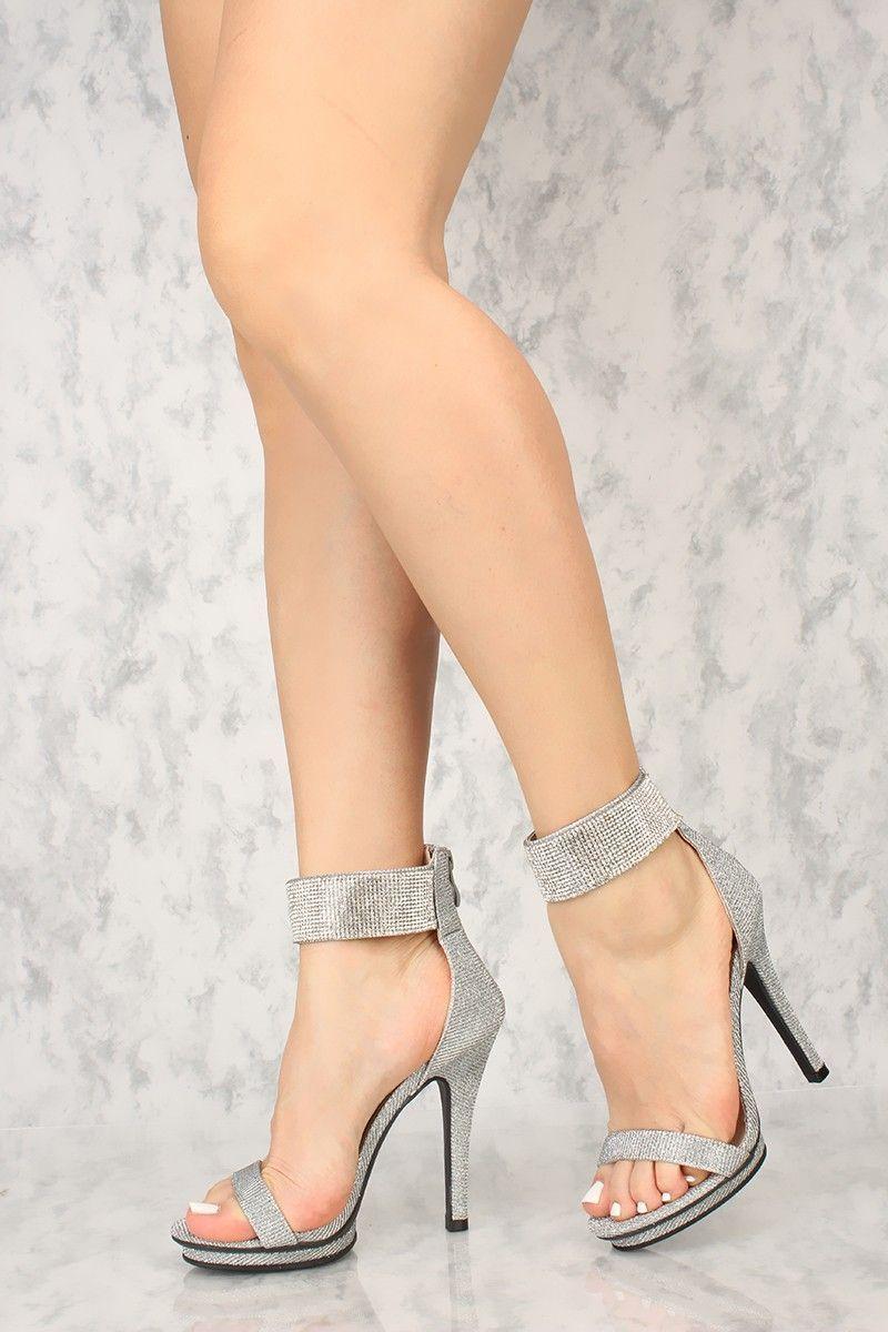 cee93b04679 Sexy Silver Glitter Rhinestone Ankle Strap Single Sole High Heels  Promshoes