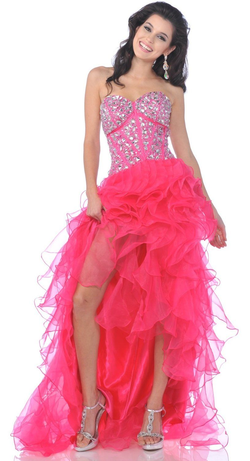 Zeilei Corset Beaded Strapless Hi-low Prom Dress | Chicas lindas ...