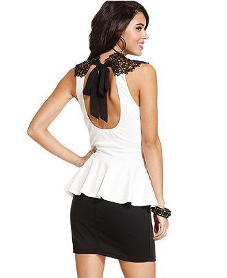 Trixxi Juniors Dress, Sleeveless Lace Peplum - Juniors Dresses - Macy's