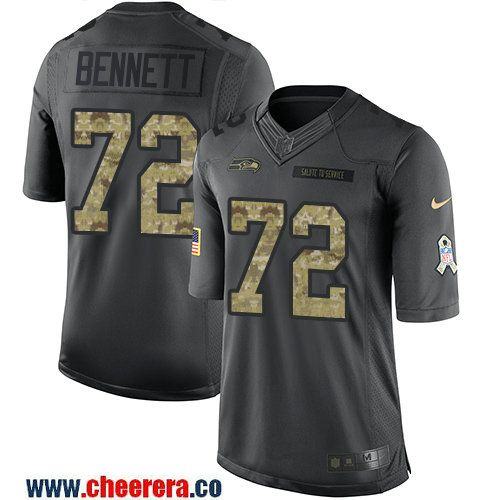 Men's Seattle Seahawks #72 Michael Bennett Black Anthracite 2016 Salute To Service Stitched NFL Nike Limited Jersey