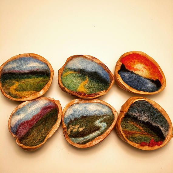 Needle Felted Landscape in a Walnut Shell - Needle Felted Art - Handmade - Made To Order - Please Read Entire Product Description