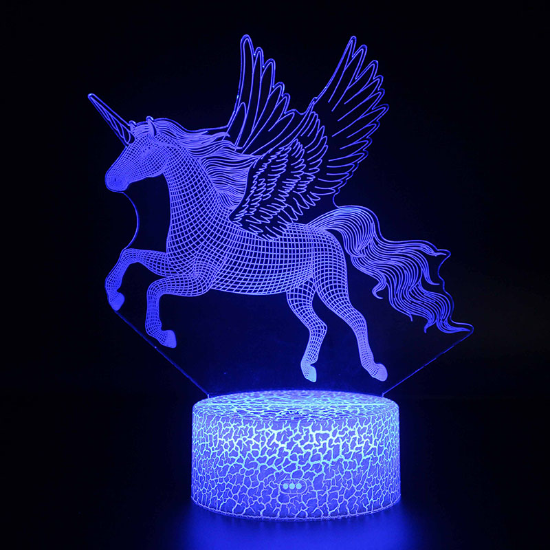 3d Illusion Night Lights Unicorn Model Touching Led Lamps Kids Bedroom Decor Rainbow Horse Lights With Remote C Led Night Light Kids Bedroom Decor 3d Illusions