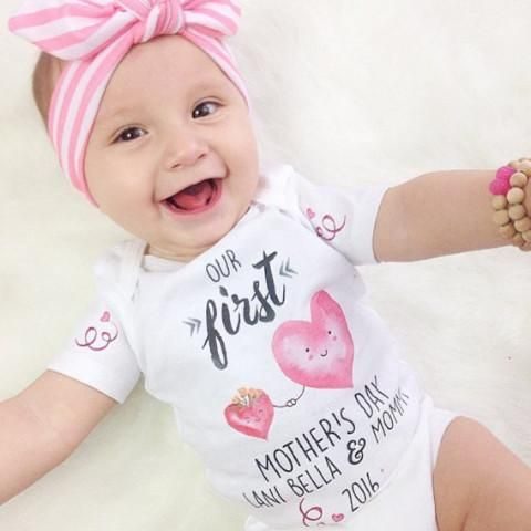 « FIRST MOTHER'S DAY WITH HEARTS » CUSTOMIZED BODYSUIT ...