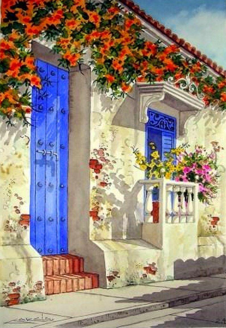 Casa antigua poca colonial cartagena paisajes realista tecnica acuarela sobre carton paisajes - Pintores en cartagena ...