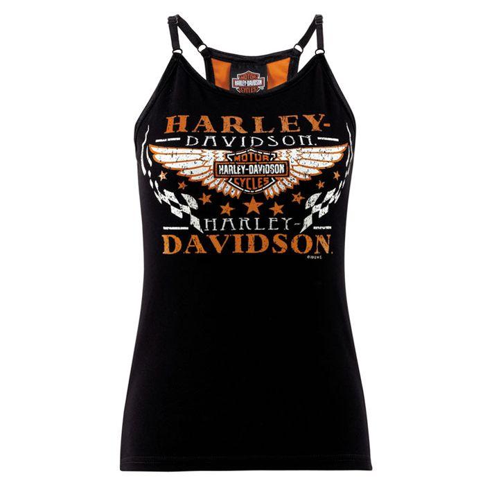 R566227681 - Harley-Davidson® Womens Racy - Racer Back Black Cotton Sleeveless Tank - Barnett Harley-Davidson®
