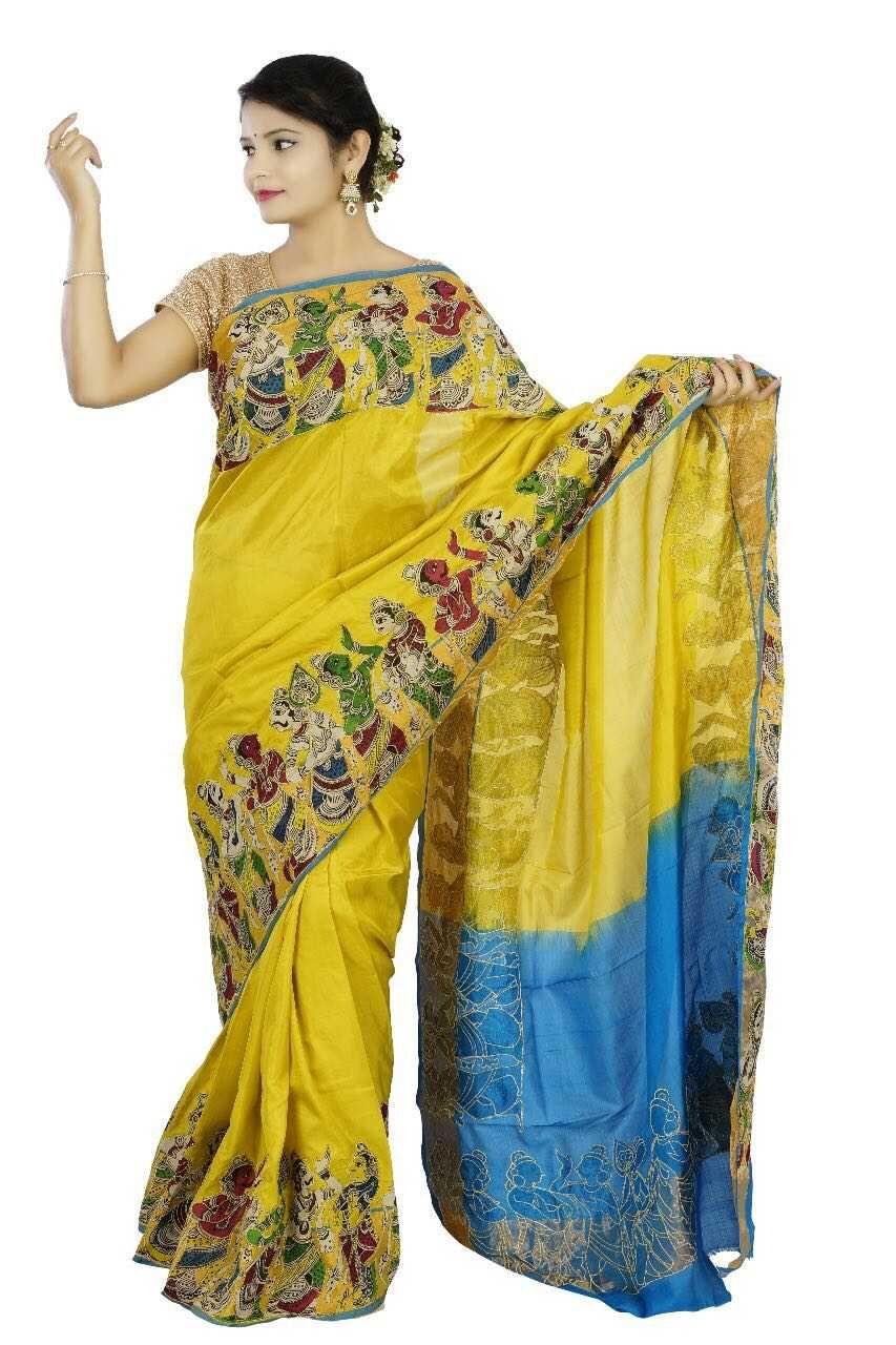 e426d7cea1 Kalamkari hand written and hand painted applique work on pure silk ...