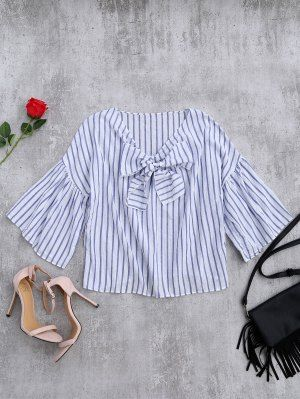 Striped Flare Sleeve Knot Front Top - Blue Stripe