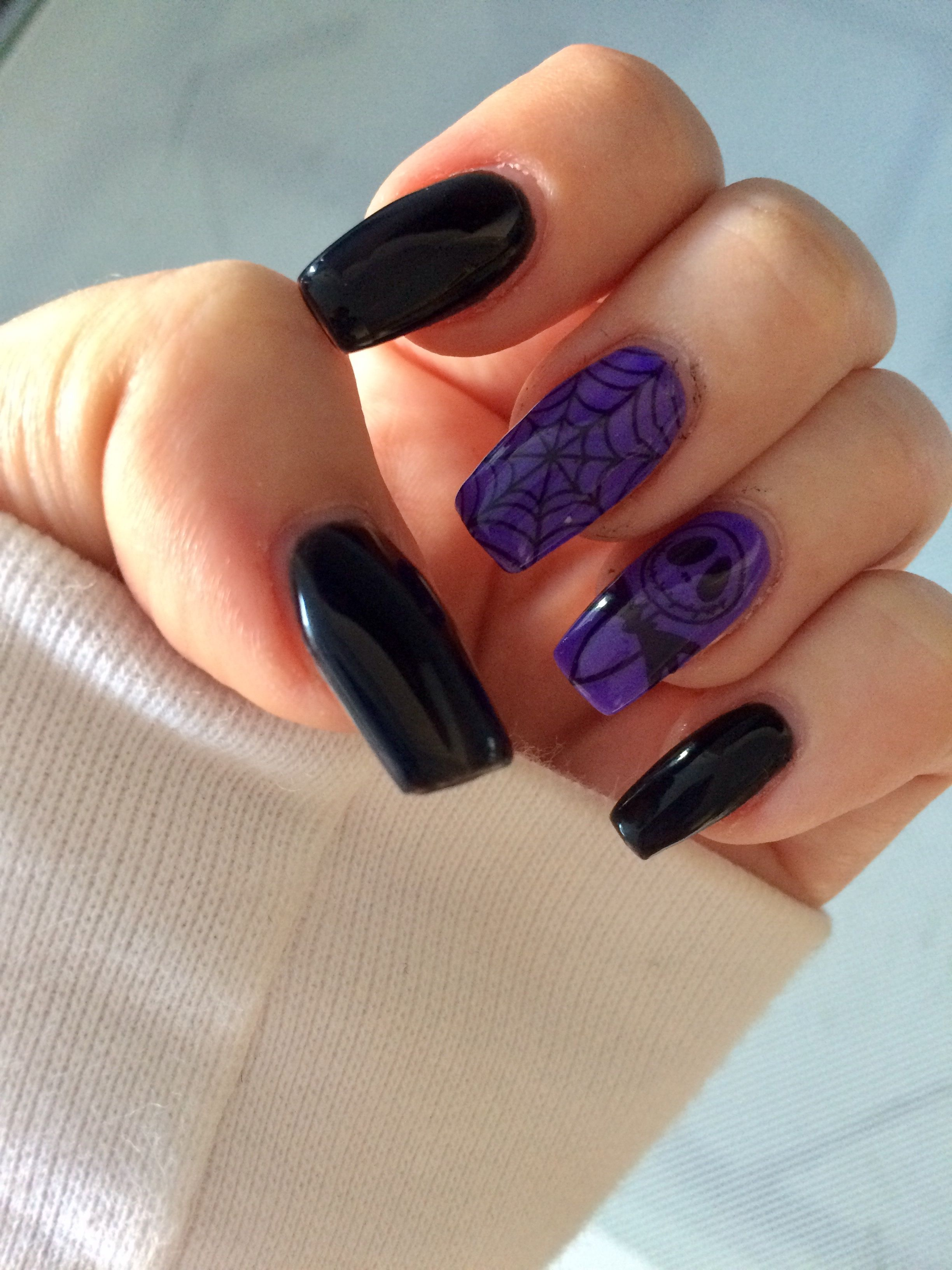 Black and purple Halloween nails. Nightmare before ...