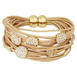 """Layered magnetic string bracelet in nude with circle charms.  Product: BraceletConstruction Material: Nickel free metal alloy and magentic stringColor: Nude and goldFeatures:  Magnetic claspCircle charms Dimensions: 1"""" H x 2.5"""" DiameterCleaning and Care: Wipe clean with dry cloth"""