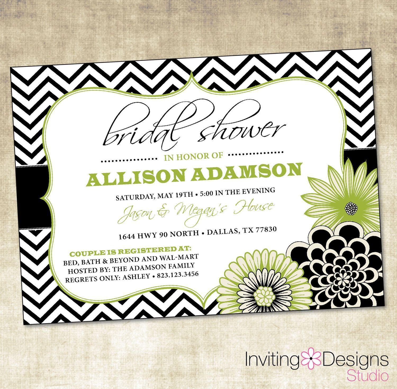 Chevron Wedding Shower Invitation, Bridal Shower Invitation, Black ...
