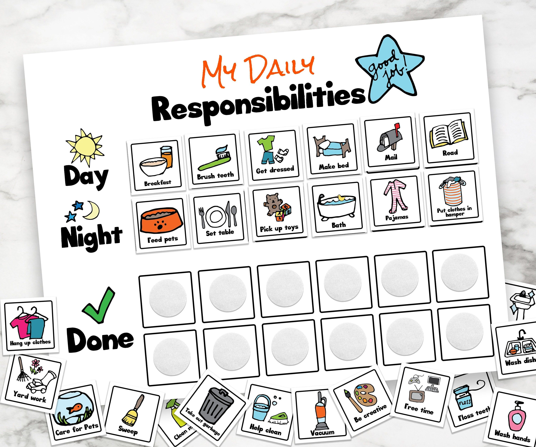 Daily Responsibilities Chart Chore Chart Kids Chores