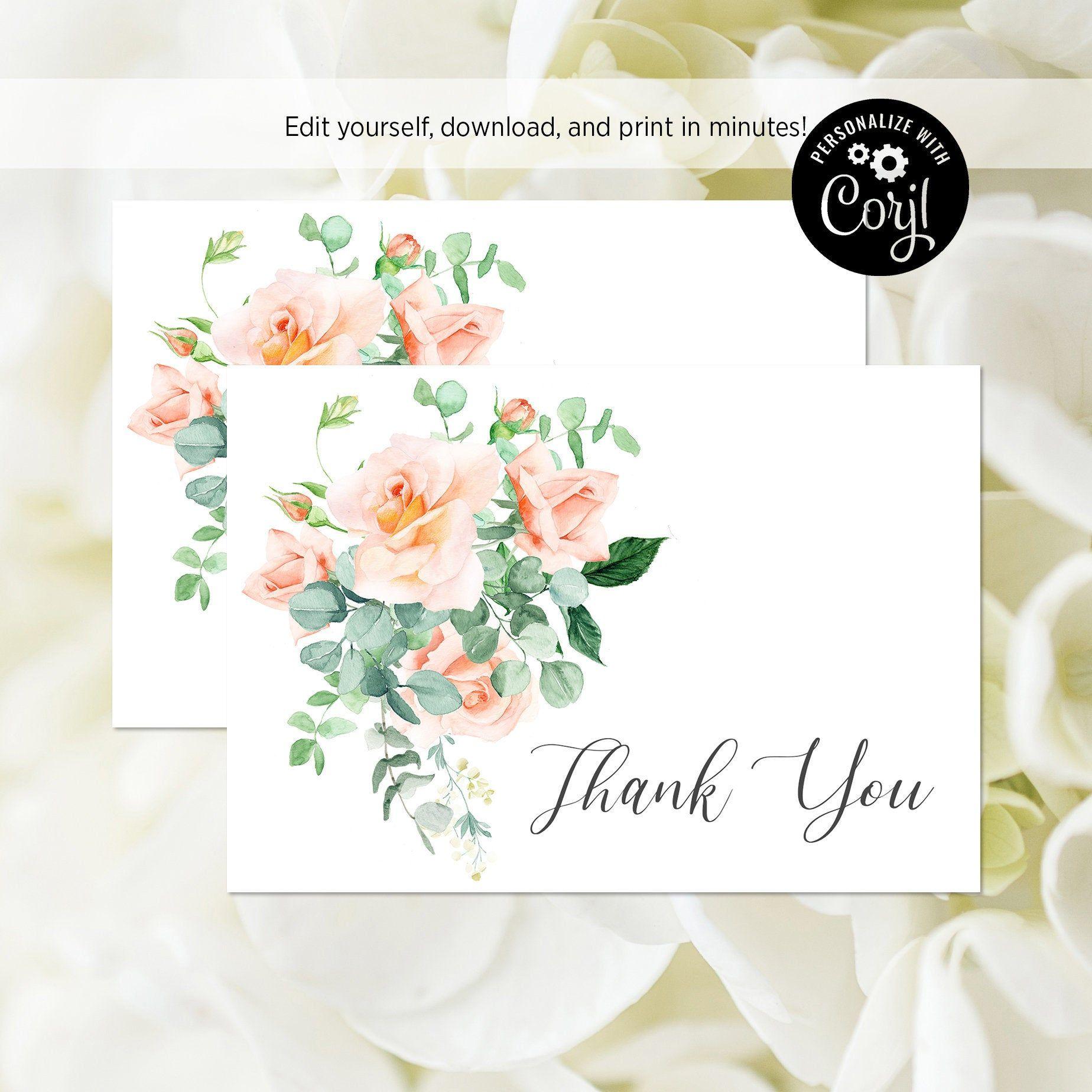 EDITABLE FILE Blush Rose Thank You Card Pink Floral Bridal ...