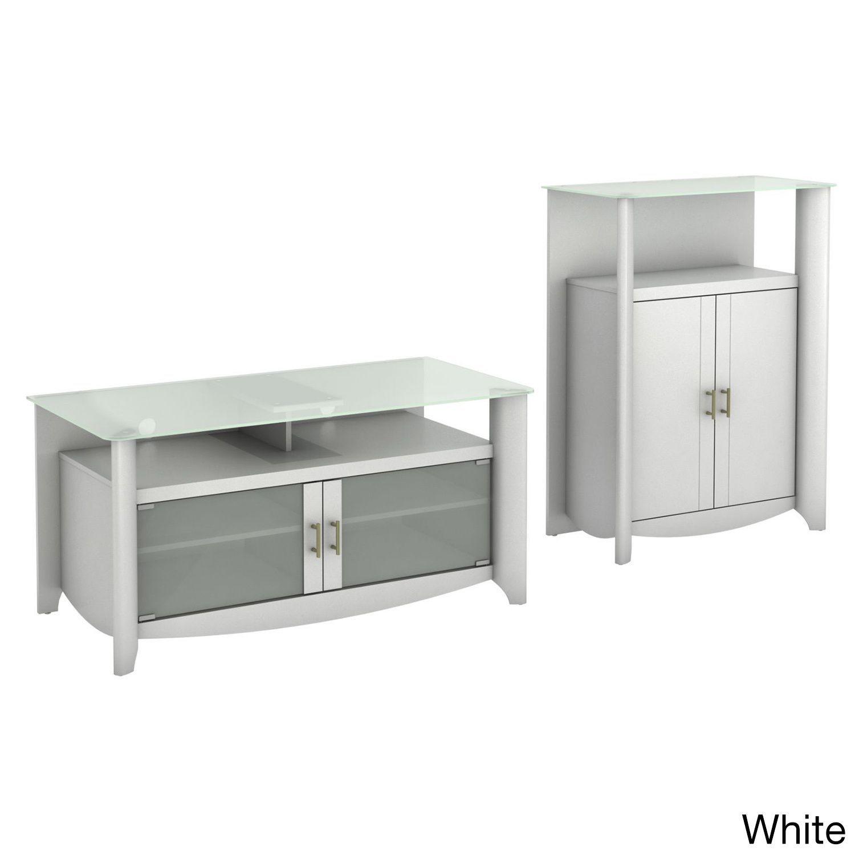 Bush Furniture Aero TV Stand and Library Storage Cabinet White