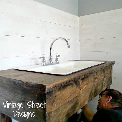 How To Make A Rustic Sink Base Kitchen Sink Diy Rustic Kitchen Sinks Garage Sink