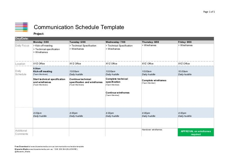 Communication Schedule Template by Bluewire Media via slideshare - meeting scheduler template